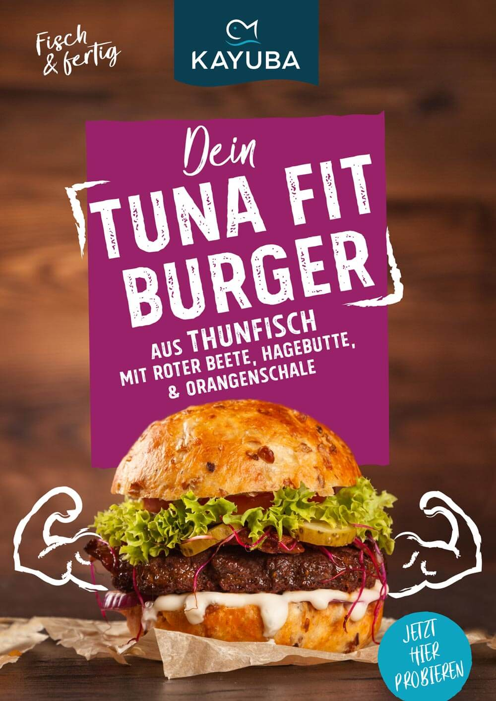 Kayuba Plakat Fischburger thunfisch tuna fit burger
